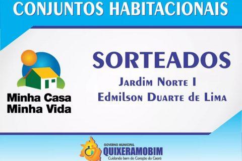 ATENÇÃO  A Prefeitura de Quixeramobim, através da Secretaria de Assistência e Desenvolvimento Social, torna público o resultado dos contemplados no sorteio