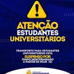 A Prefeitura de Quixeramobim informa que o transporte para os estudantes universitários estão suspenso a partir de hoje (15).