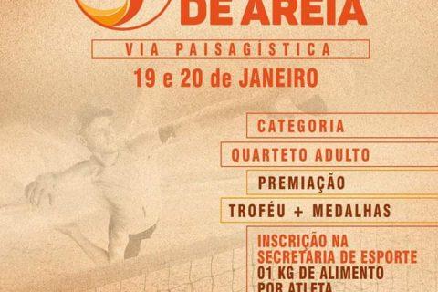 A Secretaria de Esportes de Quixeramobim vai realizar, nos dias 19 e 20 de janeiro, o Torneio de Vôlei de Areia.