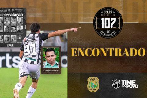 Parceria entre Polícia Civil e Ceará Sporting Club resulta na localização de desaparecido